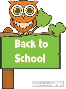 back to school sign owl