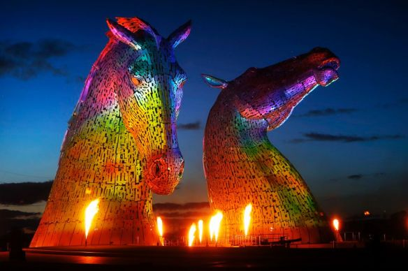 Groupe-F-perform-a-light-flame-and-sound-show-during-the-launch-of-The-Kelpies-sculpture